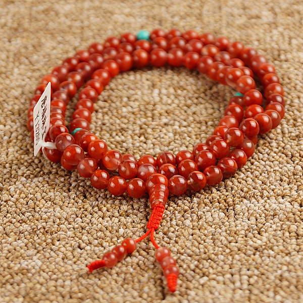 7MM Agate Mala Tibetan 108 Beads Mala Turquoise Adjustable