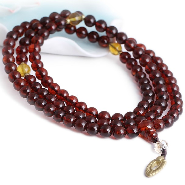 Blood Amber Mala Tibetan 108 Prayer Beads Mala