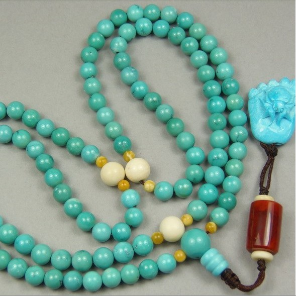 Turquoise 108 Beads Tibetan Mala Adjustable Knot