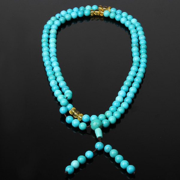 Turquoise 108 Beads Mala Tibetan Mala Amber Adjustable