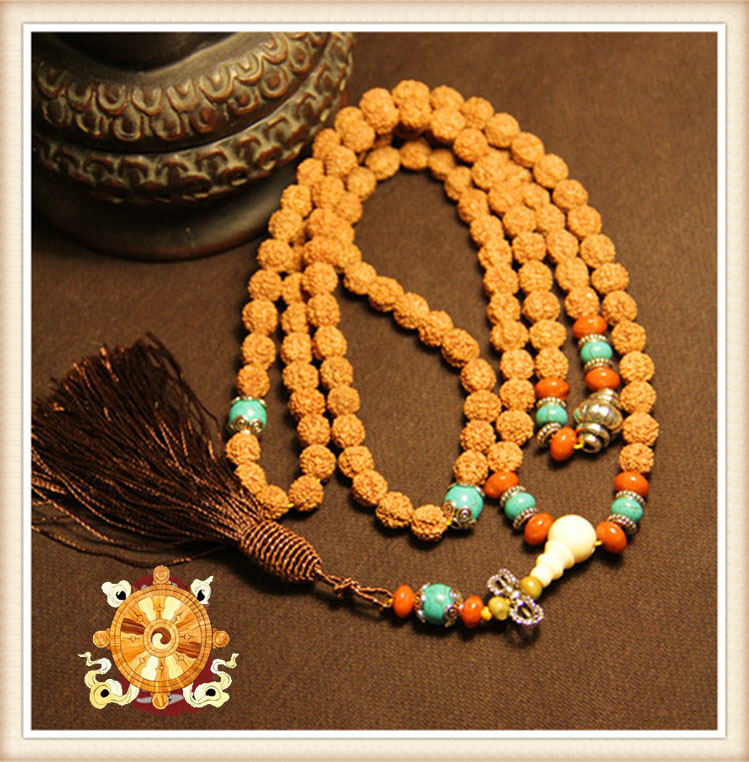 Rudraksha Mala Buddhist 108 Prayer Beads Mala Cotton Tassel