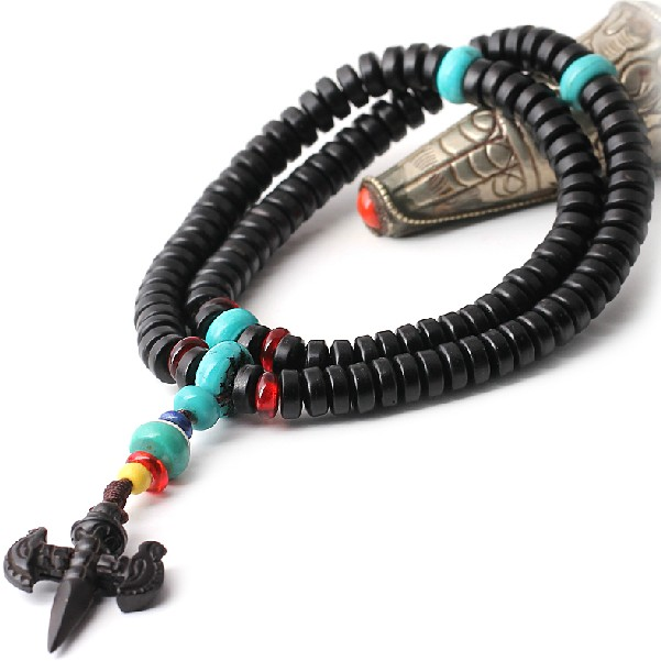 Coconut Shell Mala Tibetan 108 Prayer Beads Mala Turquoise
