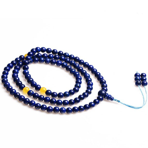 Tibetan Mala Lapis Lazuli 108 Beads Yellow Jade Adjustable