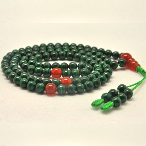 Tibetan Mala Malachite 108 Beads Mala Agate Adjustable