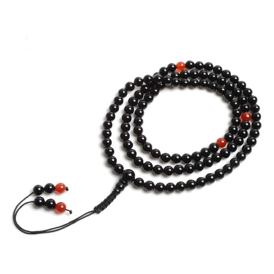Buddhist Mala Onyx 108 Beads Mala Agate Adjustable Knot