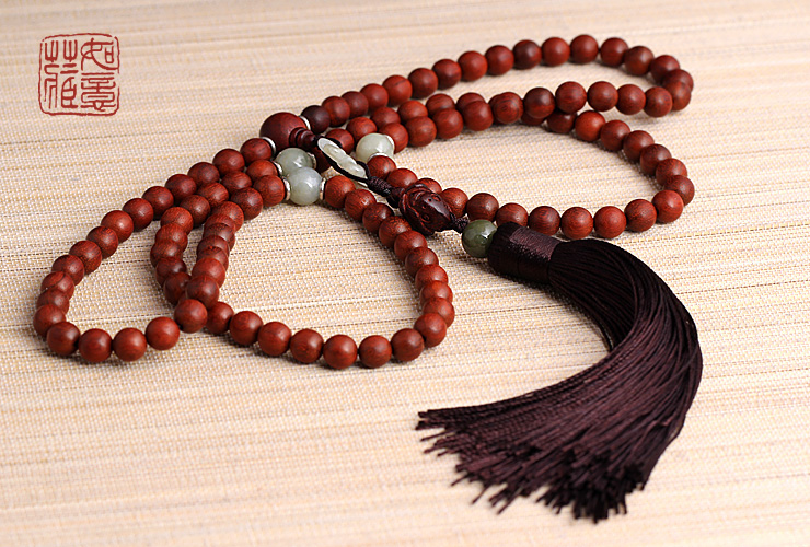 Redsandalwood Mala Buddhist 108 Prayer Beads Mala Jade