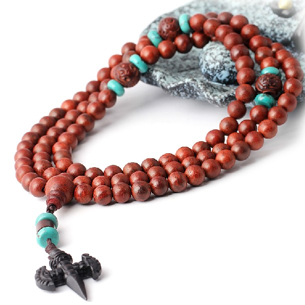 Redsandalwood Mala Tibetan 108 Prayer Beads Ebony Dorje