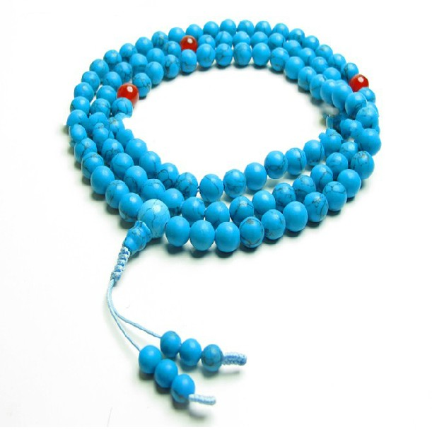 Tibetan Mala Turquoise 108 Beads Agate Adjustable