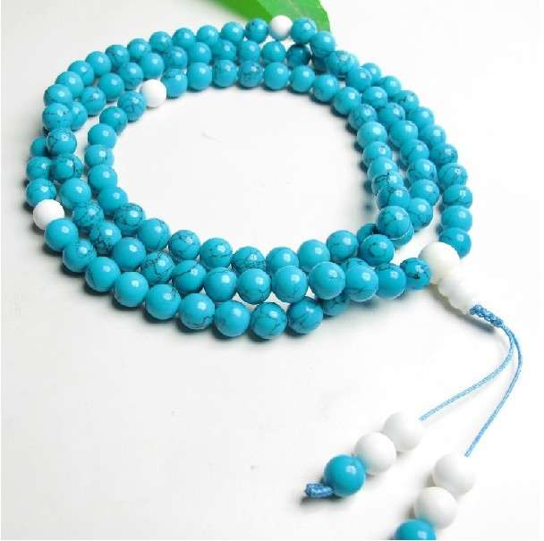 Buddhist Mala Turquoise 108 Beads Mala White Conch Adjustable