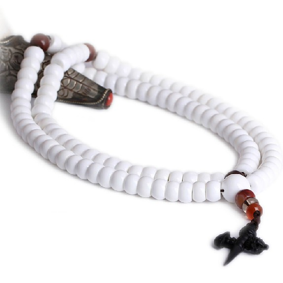 White Conch Mala Tibetan 108 Prayer Beads Mala Agate
