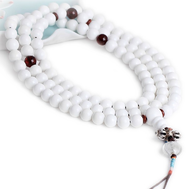 White Conch Mala Tibetan 108 Prayer Beads 925 Silver