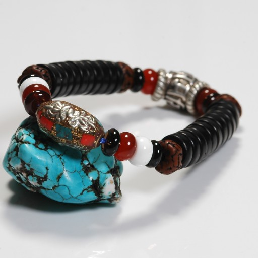 Handmade Tibetan OM Beaded Bracelet Tribal Beads Bracelet - Click Image to Close