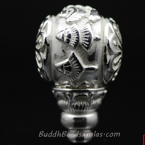 Tibetan Silver Buddhist Eight Sacred Symbol Guru Bead for Mala