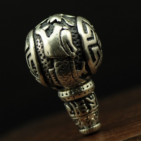 Tibetan Silver OM Dragon Guru Bead for Mala