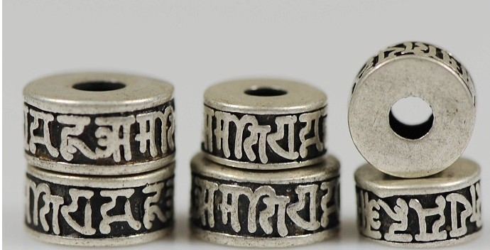 silver om mani beads malas' spacer beads