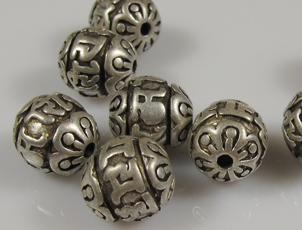 silver om mani padme hum beads