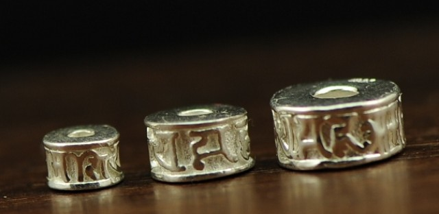 925 silver om mantra beads