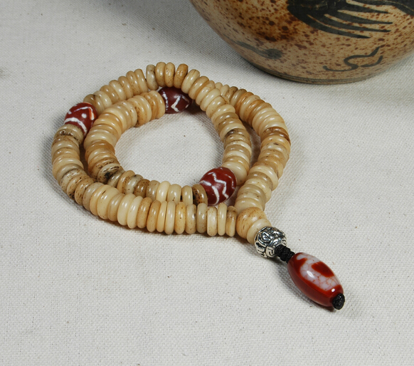 Blessed Tibetan Bone Mala Old Yak Bone 108 Beads Mala