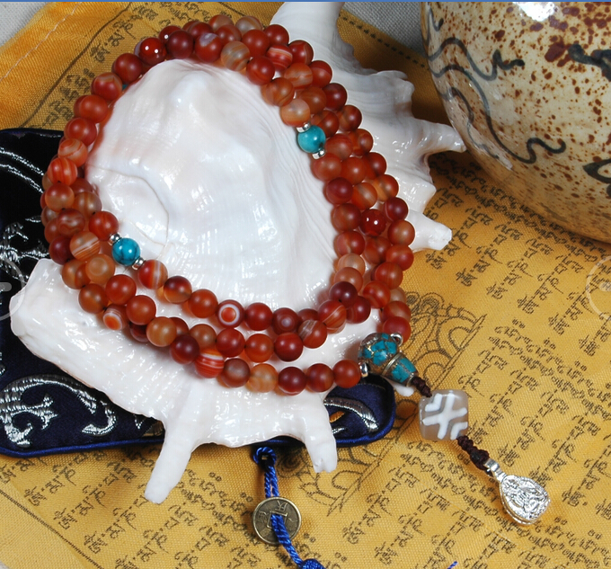 8MM Old Tibetan Agate Mala Blessed Buddhist 108 Prayer Beads Mala