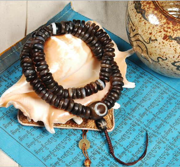 Blessed Tibetan Old Agate Mala Buddhist 108 Prayer Beads Mala