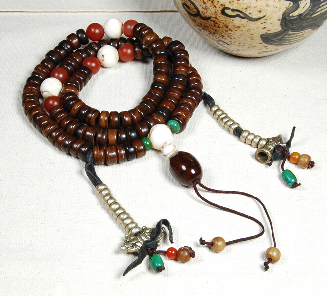 Blessed Tibetan Old Mala Old Yak Horn 108 Beads Mala