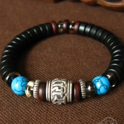 Tibetan OM Beaded Bracelet Turquoise Beads Bracelet - Click Image to Close
