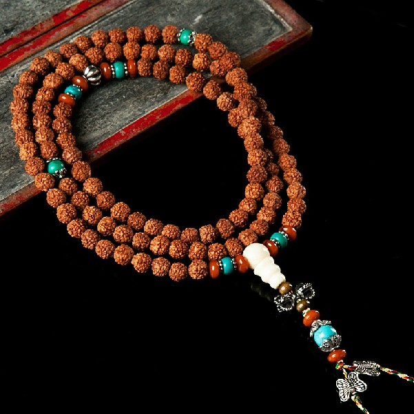 Rudraksha Japa Mala Tibetan 108 Prayer Beads Turquoise Adjustable